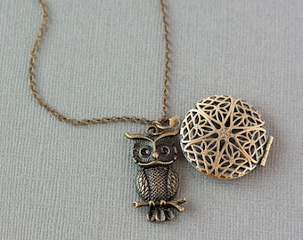 Essential Oil Diffuser Necklace, Owl Necklace, Aromatherapy Jewelry, Essential Oil Necklace, Oil Locket, Owl Diffuser Locket, Oil Pendant