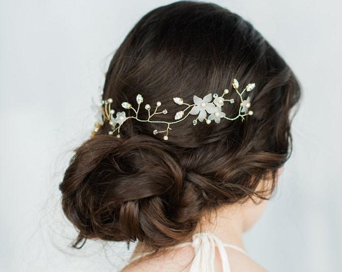 Gold Crystal Hair Vine, Flower Hair Vine, Pearl Hair Piece, Vine, Twig Headpiece, Flower Crown, Floral Halo, Ivory Headband, ALEXANDRA