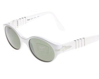 Persol rare vintage ladies white oval slightly cat eye sunglasses with green tempered crystal lenses, NOS early 90s
