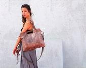 Leather tote bag, purple tote bag, shoulder leather bag, women handbag, leather handbag, leather crossbody bag, handmade leather bag