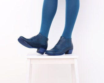 Blue Ankle boots wide womens Leather heeled Booties shoes oxfords , ADIKILAV ON SALE 20%