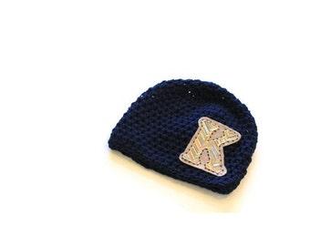 Hat | Boys Hat | Monogram | Initial | Cotton | Crochet | Navy Blue Hat | Kids Hats | Children | New Baby | Beanie | Chevron Print | Personal