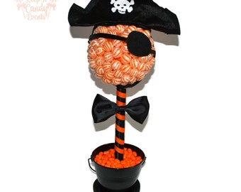 Lollipop Pirate Topiary, Pirate Party Decor, Pirate Birthday Centerpiece, Candy Pirate Decoration, Pirate Birthday Party Ideas, Pirate Candy