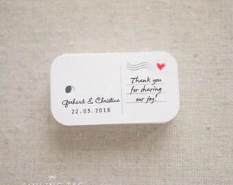 Mini Postcard Personalized Gift Tags - Wedding Favor Tags - Thank you tags - Hang tags - Wedding Gift Tags - Set of 40 (Item code: J220-1)