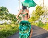 Green Bustle Skirt / gypsy goddess / steam punk / festival / burning man / costume