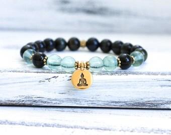 Mala Bracelet, Wrist Mala Beads, Blue Tiger Eye w Fluorite Energy Bracelet, Boho Bracelet, Yoga Jewelry, Spiritual Jewelry, Healing Jewelry