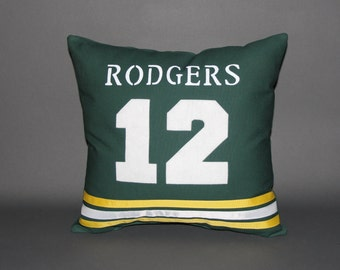 """Green Bay Packers Inspired Sports Pillow-16x16"""" - Personalize your pillow with the Name & Number of your choice"""