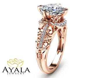 Cushion Cut Diamond Ring in 14K Rose Gold Unique Engagement Ring Cushion Cut Engagement Ring Art Deco Ring with 2 Carat Diamond