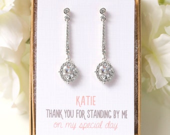 Will You Be My Bridesmaid Earrings Wedding Long Drop Earrings Personalized Bridesmaids Gift Silver Earrings for Maid of Honor E345S