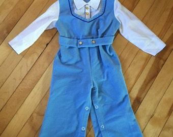 Vintage 1970s Baby Infant Boys Blue Corduroy One Piece Romper Outfit! Size 18 months.