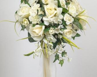 SILK FLOWER WEDDING bouquet ivory