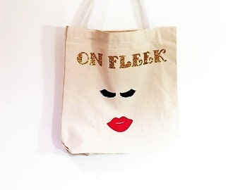 Lipstick Canvas Tote Bag, Personalized Tote Bag, Halloween Bag, Trick or Treat, Custom Gifts for Girls, Holiday Gift Bag, Custom Party Favor