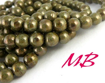 30 6mm Green Bronze Luster Druk Beads, 6mm Czech Round Druk Beads