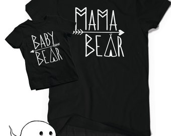 Mama Bear Baby Bear Shirts Bodysuit T Shirt Tee Infant Toddler Child Kid Gift New Mom Baby Shower Matching Mommies Cute Momma Mommy Reveal
