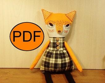 fox sewing pattern PDF fox pattern tutorial DIY doll pattern stuff fox pattern rag doll pattern fabric fox pattern cloth doll pattern
