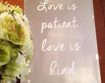 ON SALE!!! Wedding sign, custom mirror sign, wedding mirror, wedding decor, 1 Corinthians 13:4