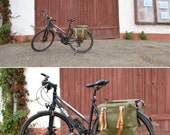Vintage Bike Pannier with Genuine Leather Straps, Showerproof Bicycle Bags, Two Vinyl  Bike Bags, Set of 2 Bags, Swiss Army Bags