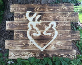 Browning Buck and Doe Heart - Buck and Doe - Anniversary Gift, Wedding Gift, Valentines Gift