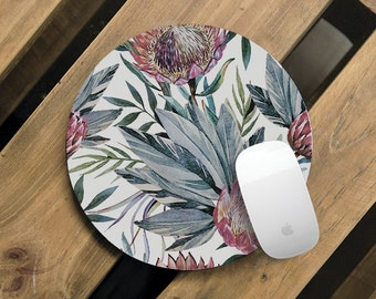 Flower Mousepad Cute Mouse Pad Birthday Gift For Her Round Mouse Mat Desk Organization Deskpad Home Decor Matching Accessories CMP_152