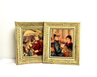 vintage pair of victorian framed prints