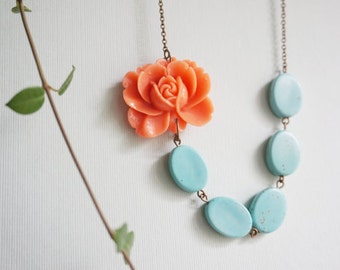 Statement Necklace Flower Necklace Turquoise Jewelry Gift For Her Coral Necklace Turquoise Necklace Bridesmaid Gift Bridesmaid Jewelry Gift