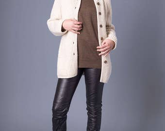 sale CARDIGAN POCKETS cream wool pure new wool Women minimal classic vintage winter fall holiday Medium / Better Stay Together