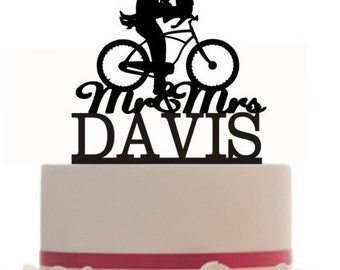 Wedding Cake Topper Mr and Mrs hair down with a bicycle silhouette, your last name, choice of color  CX10B1