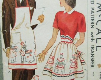 Vintage McCall 1481 Sewing Pattern, 1940s Apron Pattern, His and Hers Aprons, Mr. and Mrs. Aprons, 1940s Sewing Pattern, Embroidery Transfer