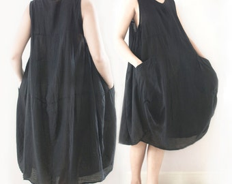 SALE 30% Off, XL Comfy Sleeveless Baggy Summer Beach Cotton Dress with Pockets, Tunic, Maternity Dress, in Black