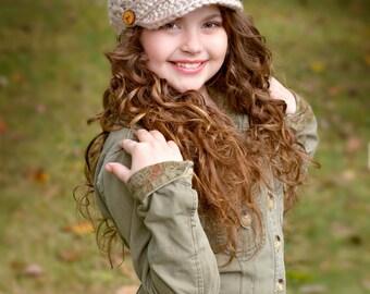 Crochet Hat, Children's Hat, Newsboy Hat, Brimmed Beanie Hat, Spring Fashion, Kids Hat