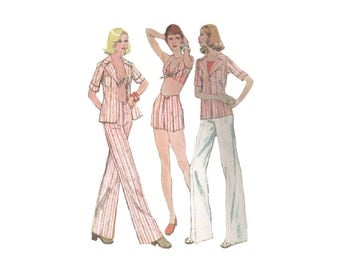 Halter Top Pattern with Shirt and High Waist Shorts or Pants Bust 36 McCalls 4052 Summer Beachwear Vintage 1970s Sewing Pattern