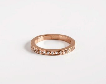 Simple Engagement Ring Gold Band, Pave Diamonds Eternity 18K Rose Gold Stacking Ring, Womens Diamond Infinity Band Wedding Ring