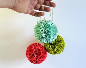 Paper Ball of Stars - Colorful Origami Kusudama Paper Ornament - Geometric Home Decor - Paper Sculpture - Citron Green Turquoise Coral Pink