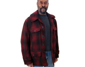 Red Plaid Hunting Coat M L, 40s Coat, HW Carter & Sons Wool Coat, Red Shadow Plaid Coat, Red Buffalo Plaid Coat, Heavy Duty Rugged Coat