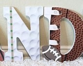 Nursery letters, Boys Nursery Letters, Sports Nursery Decor,Baseball Football Basketball Nursery,Boys Sports Letters,Wooden Letters for Boy