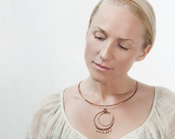 Hand-Forged Copper Pendant Necklace with Beaded Fringe of Bone