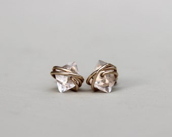 Herkimer Diamond Earrings, Petite Herkimer Studs, Raw Quartz Studs, Herkimer Diamond, Herkimer Earrings, Diamond earrings