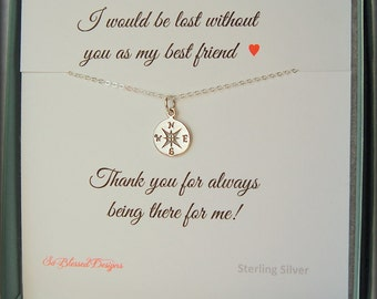 Gifts for Best friend, Compass necklace, Best friend gift, BFF, Best friend necklace, compass charm, Bridesmaid, Maid of Honor