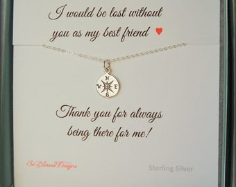 Best friend jewelry, Compass necklace, Best friend gift, BFF, Best friend necklace, compass charm, Bridesmaid, Maid of Honor