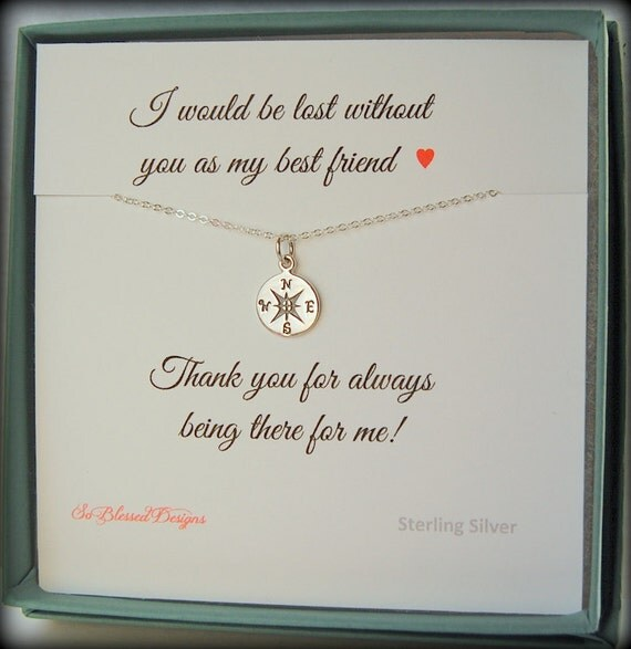 Wedding Gift For Friend How Much : Gift for best friend, compass necklace, friendship jewelry, BFF, Best ...