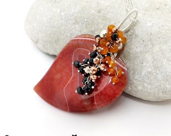 Sirds - Agate, spinel, carnelian, silver, necklace