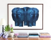 Large Abstract Wall Art Print, Modern Giclee Art Print of Original Blue Painting