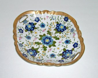 Antique Nippon Handled Dish Bowl Blue Flowers Gold Greek Key Border