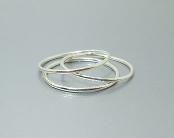 Sterling Silver Stacking Rings - Thin Rings 1mm - Slim Band Stack Rings - Set of 3 Sterling Silver Rings - Skinny Rings