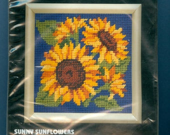 1992 Sunny Sunflowers DIY Neeedlepoint Kit Designed by Martha Gayle Freeman - Vintage Dimensions Kit 7147