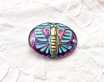 Deco Glass Butterfly Button - Gorgeous Hand Painted Art Deco Style Czech Glass - Turquoise and Gold on Iridescent Purple - 28 x 22 mm