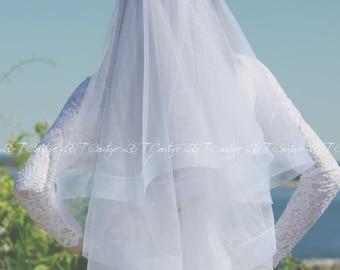 2 inch Horsehair Veil, Horsehair Veil, Two inch HorseHair Veil, Drop Veil, Trim Edge Veil, Wedding Veil, White Bridal Veil