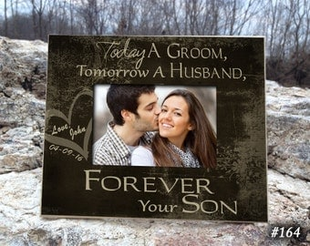 "TOD/GR: 8""x10"" Holds 4""x6"" Photo Parents Wedding Gift Parents of the Groom Father of the Groom Gift Mother of the Groom Gift Thank You Gift"