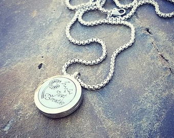 EE Exclusive **Just Breathe** 25mm Silver 316L Stainless Steel Essential Oil Aromatherapy Diffuser Locket Necklace S008