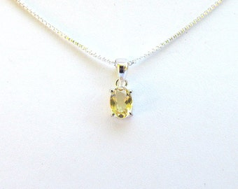 Faceted Citrine Oval and Sterling Silver Drop - 13x5x4mm - Open Back